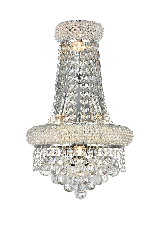 Primo 4 Light Chrome Wall Sconce Clear Swarovski Elements Crystal