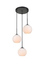 Elegant LD2209BK - Baxter 3 Lights Black Pendant With Frosted White Glass