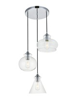 Elegant LD2247C - Destry 3 Lights Chrome Pendant With Clear Glass