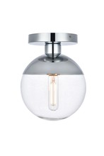 Elegant LD6053C - Eclipse 1 Light Chrome Flush Mount With Clear Glass