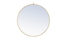 Elegant MR4058BR - Metal frame Round Mirror with decorative hook 32 inch Brass finish