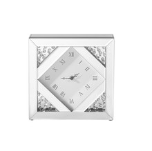 Elegant MR9118 - Sparkle 10 in. Contemporary Crystal Square Table clock in Clear